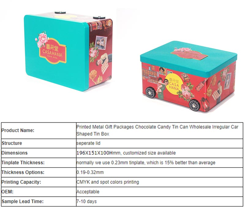 Custom car-shaped candy tin box specifications