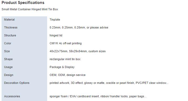 Custom hinged mint tin box parameters