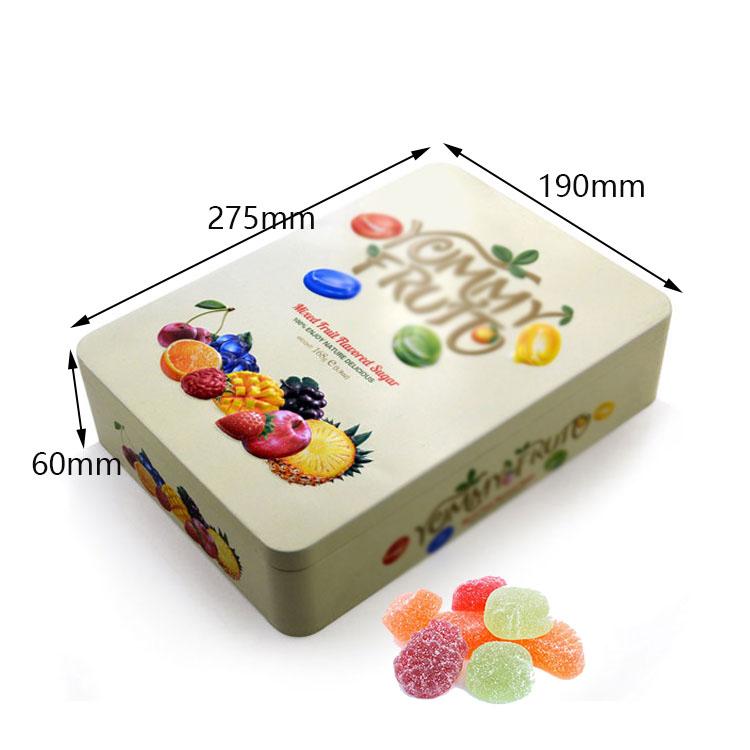Custom rectangular fruit candy tin box size
