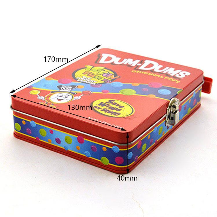 Customized flip lid lock candy tin box size
