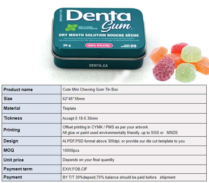 Customized rectangular hinge lid candy tin box parameters