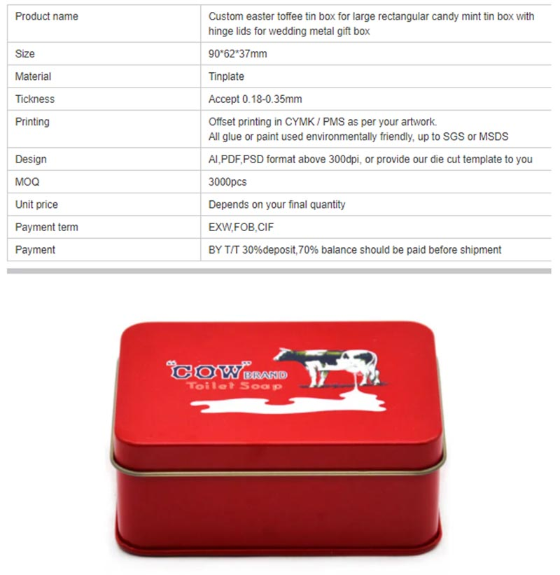 Hinged lid milk candy tin box specifications