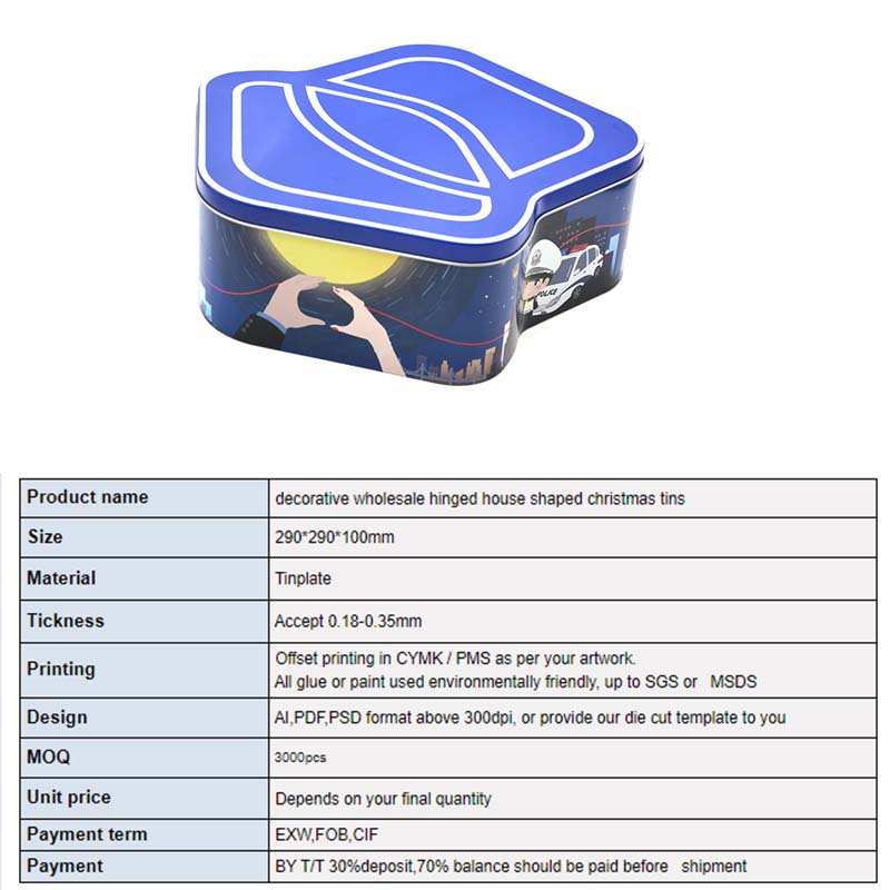 House-shaped candy tin box parameters