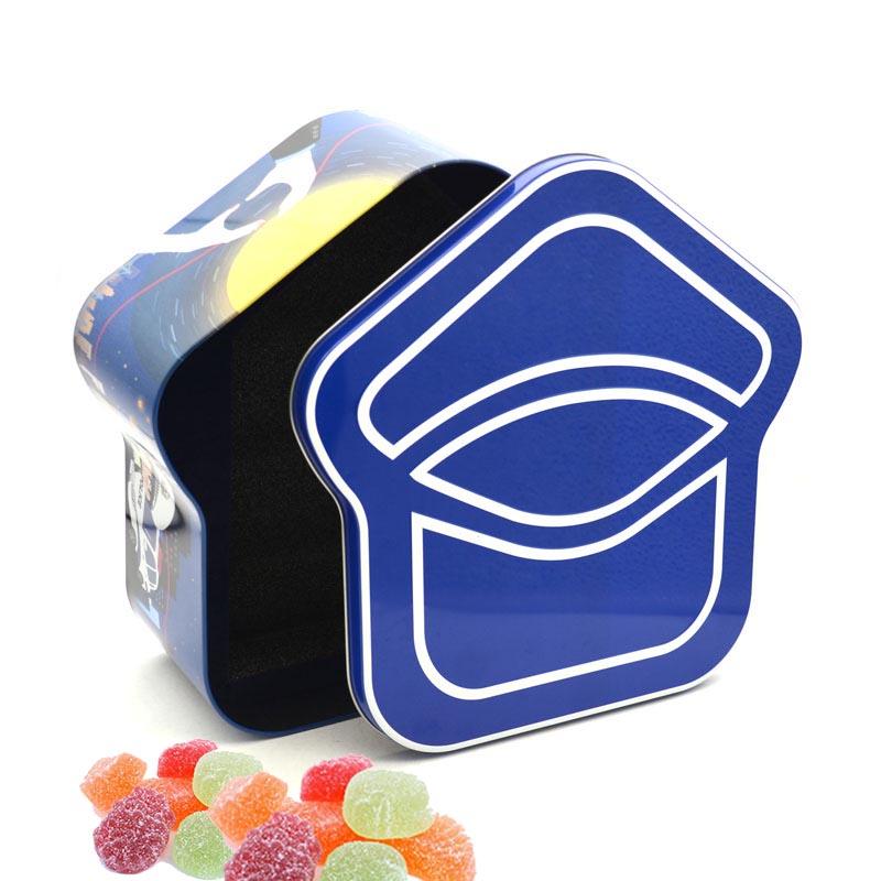 House-shaped candy tin box
