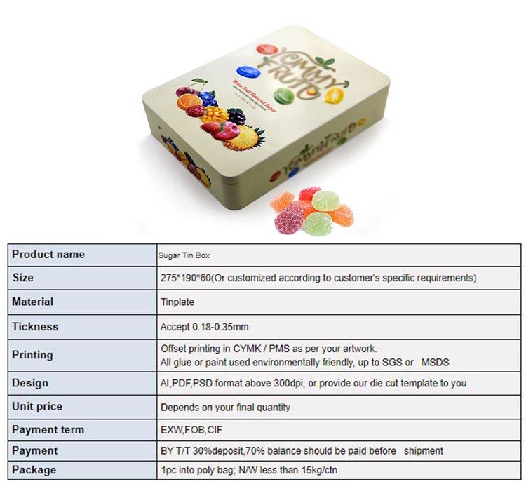Parameters of rectangular fruit candy tin box