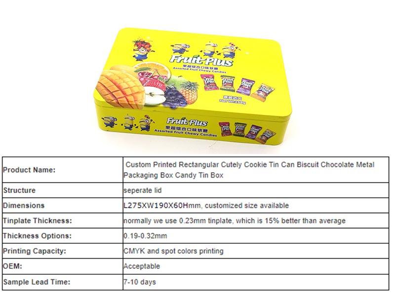 Rectangular candy tin box supplier in China