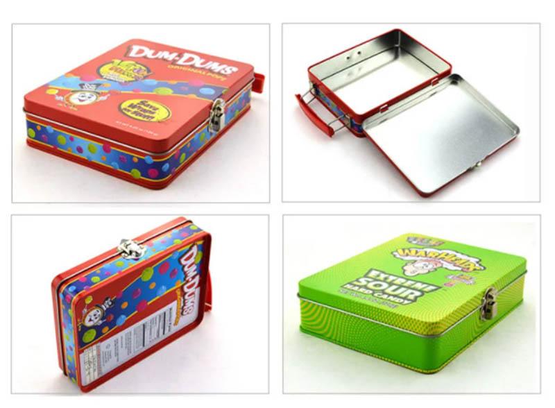 Wholesale flip lid lock portable candy tin box series
