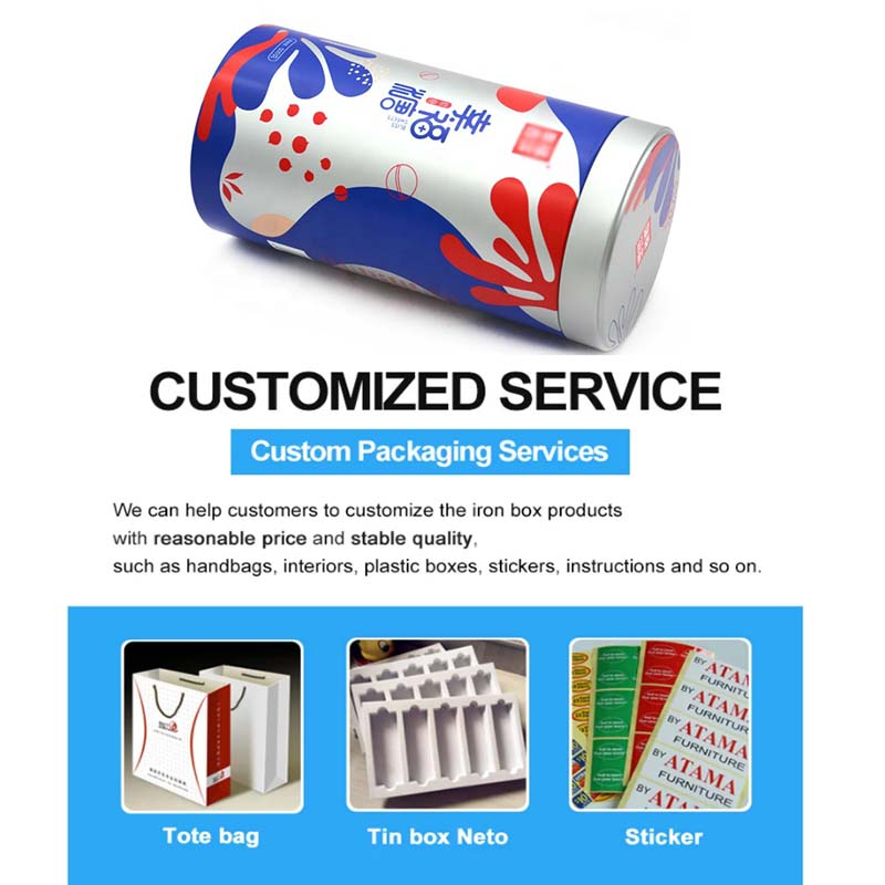 Custom cylindrical candy metal box accessories
