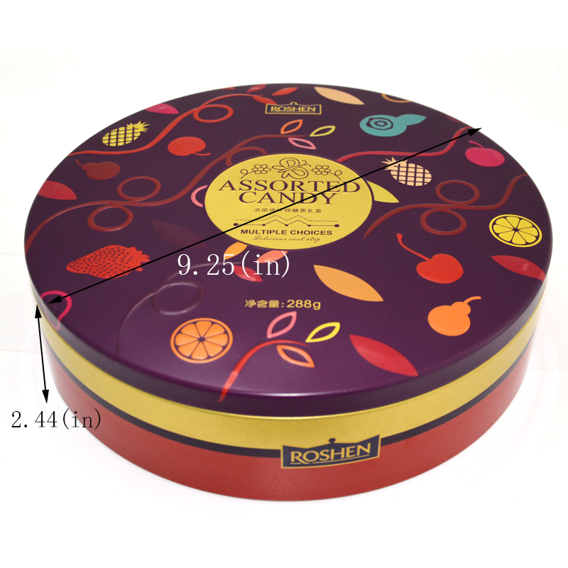 Custom round candy tin can size Custom printing ink: golden ink