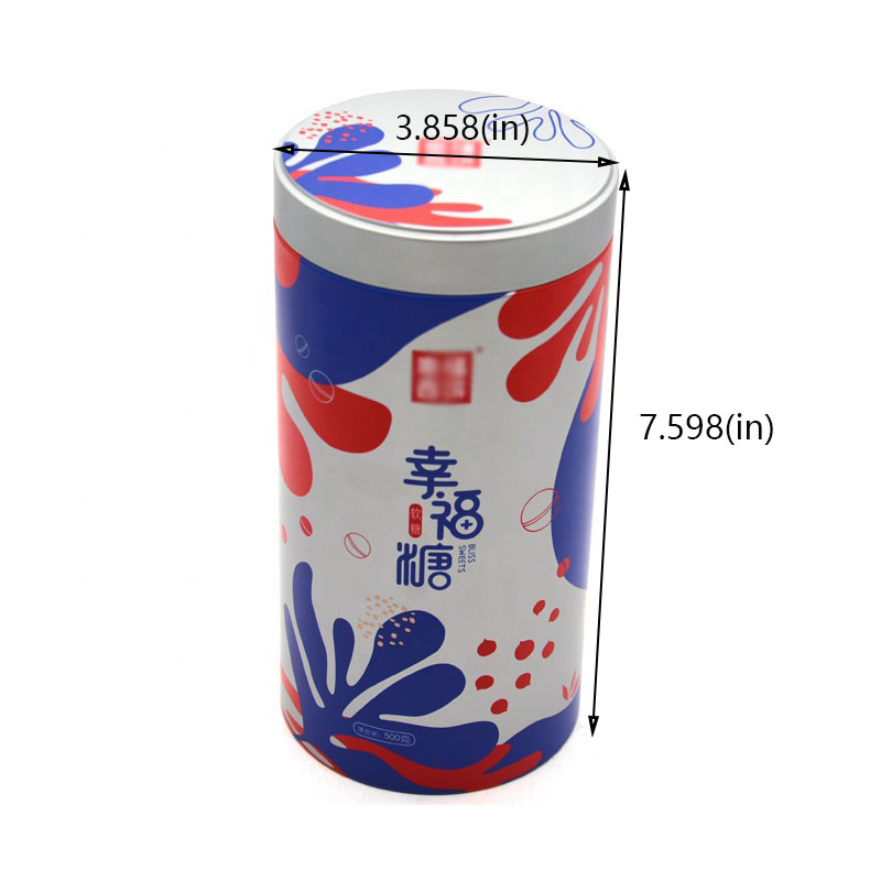 Customized cylindrical candy metal box size
