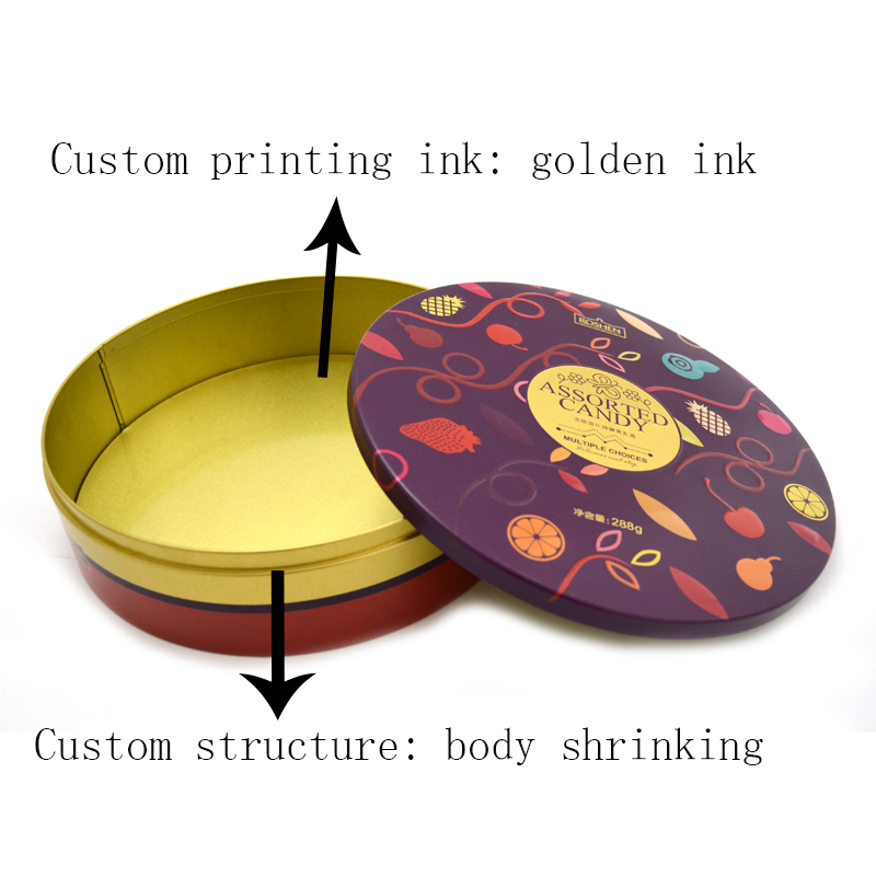 Customized exquisite round candy tin can