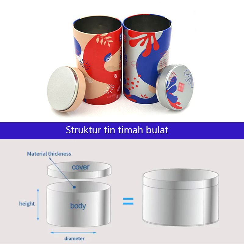 Cylindrical candy metal box structure