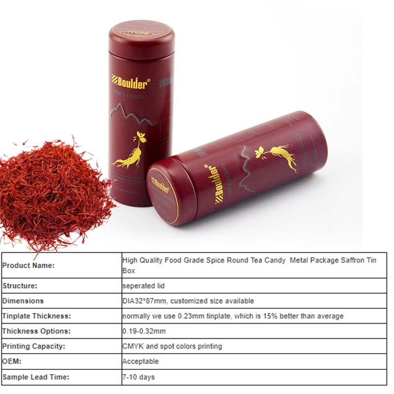 Food grade saffron tin can parameters