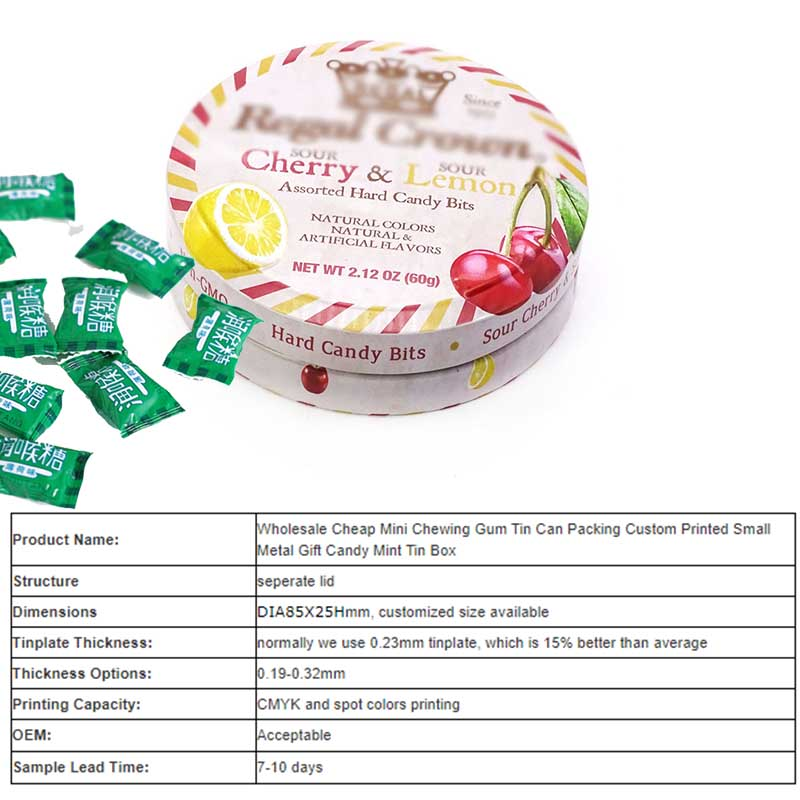 Round gift candy mint tin box parameters