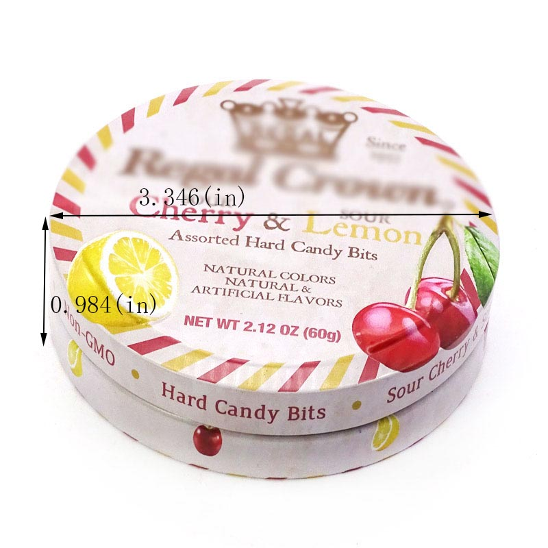 Round gift candy mint tin box size