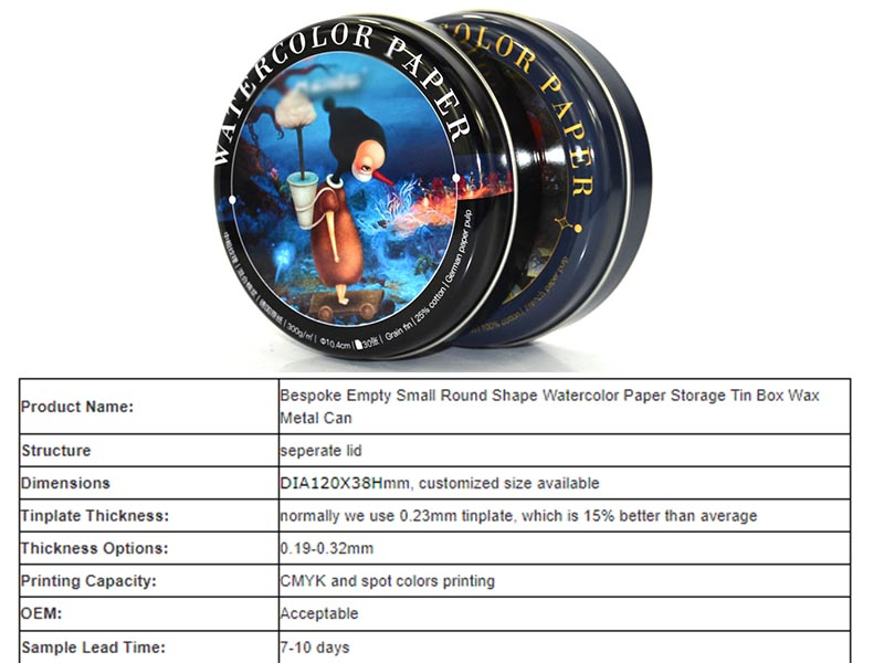 Small round martini watercolor storage tin can parameters