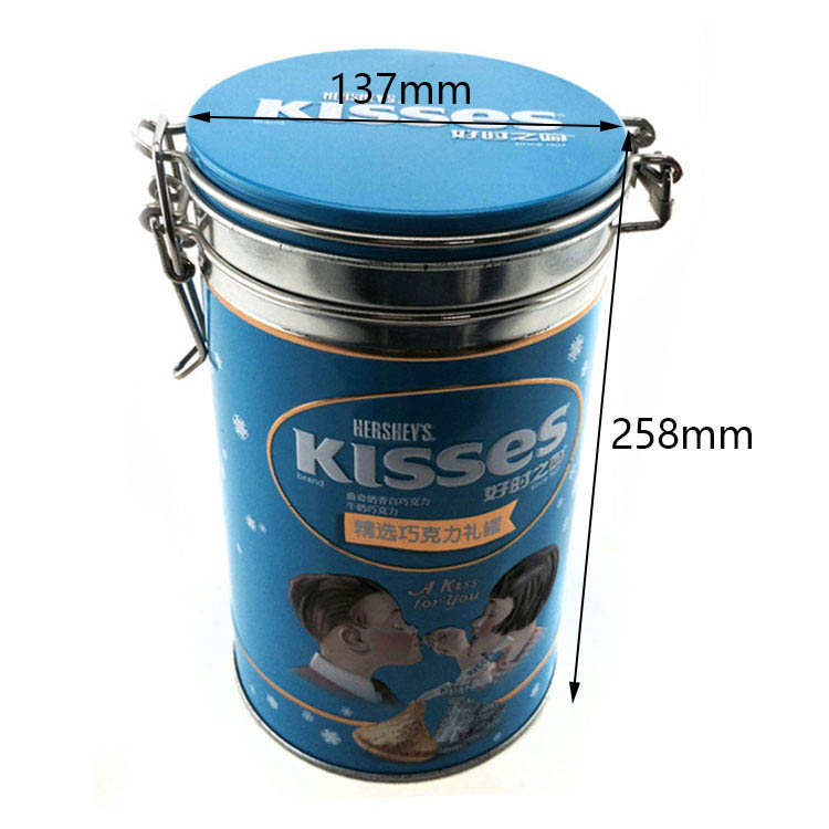 Customized cylindrical chocolate tin can size
