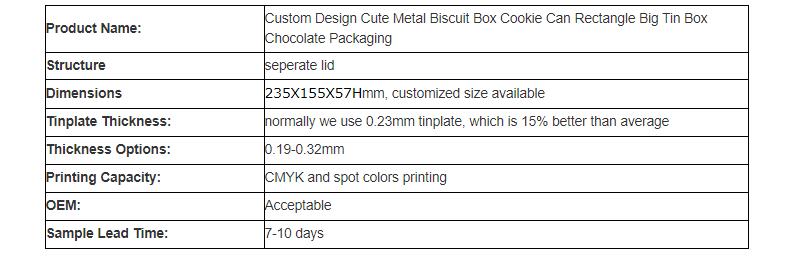 Parameters of rectangular chocolate tin box