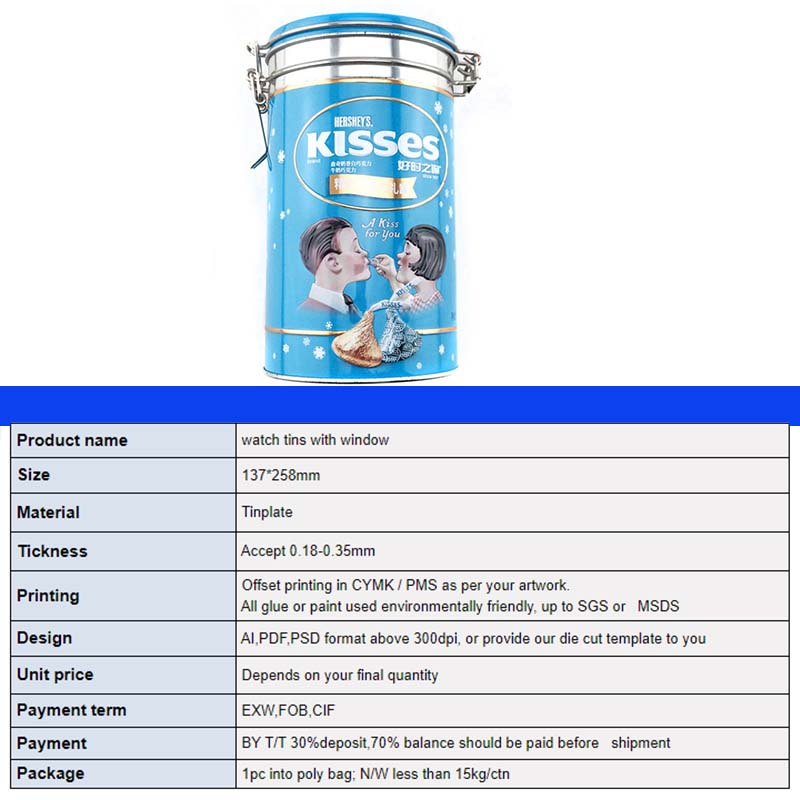 Technical parameters of cylindrical chocolate tin can