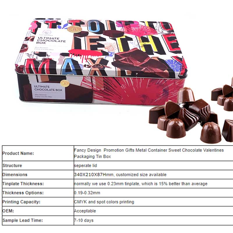 Valentine's Day Chocolate Packaging Tin Box Parameters