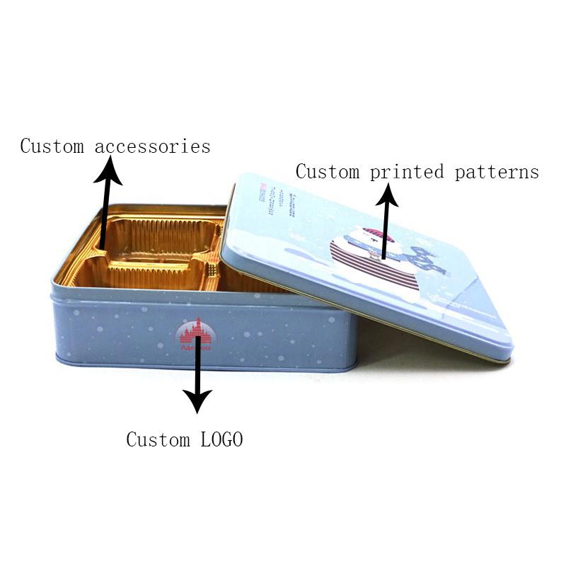 Custom printed Christmas cookie tin box