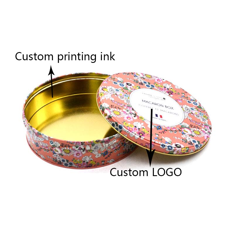 Custom printed round cookie tin box
