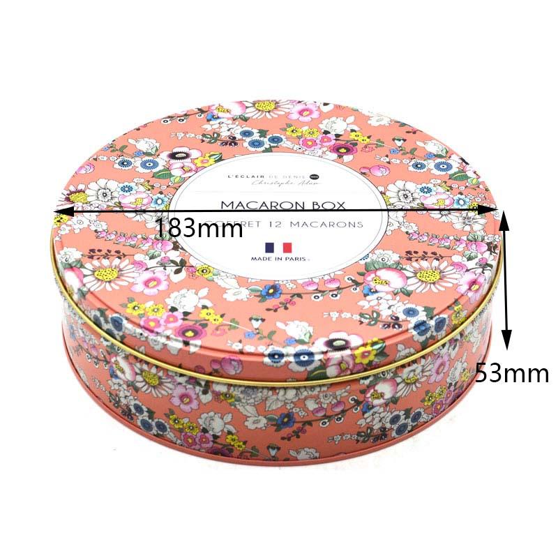 Custom round cookie tin box size