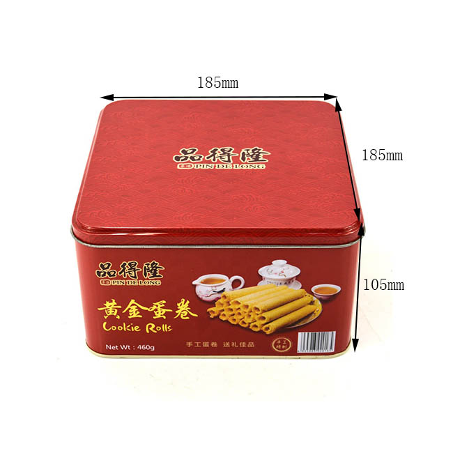 Customized square egg roll biscuit tin box size