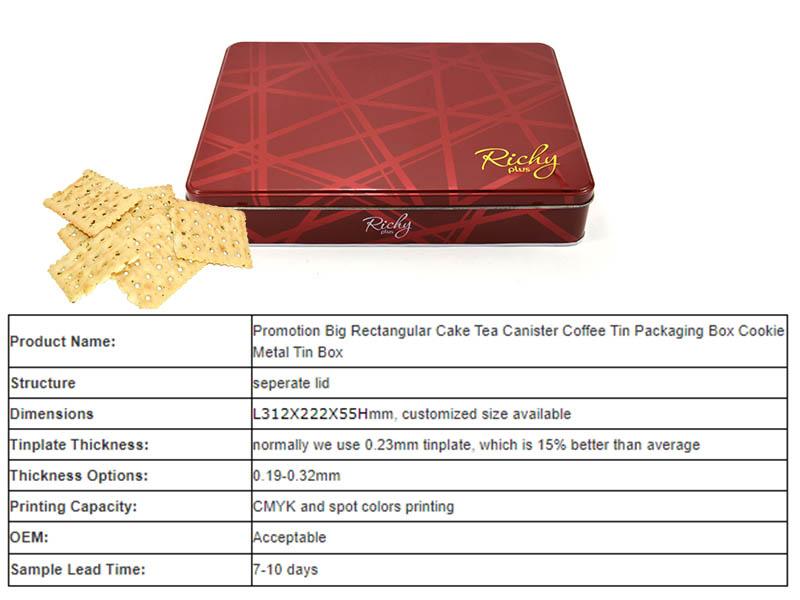 Printed biscuit tin box parameters