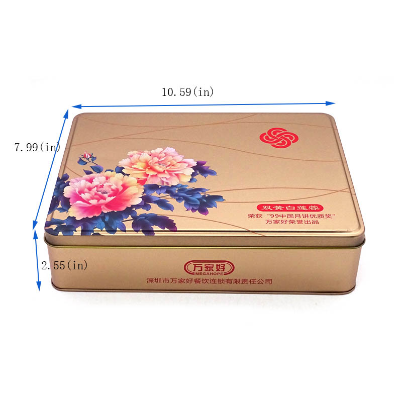 Beautiful moon cake tin box packaging size