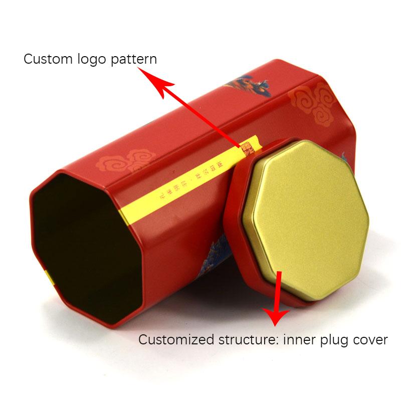 Custom octagonal tea tin can