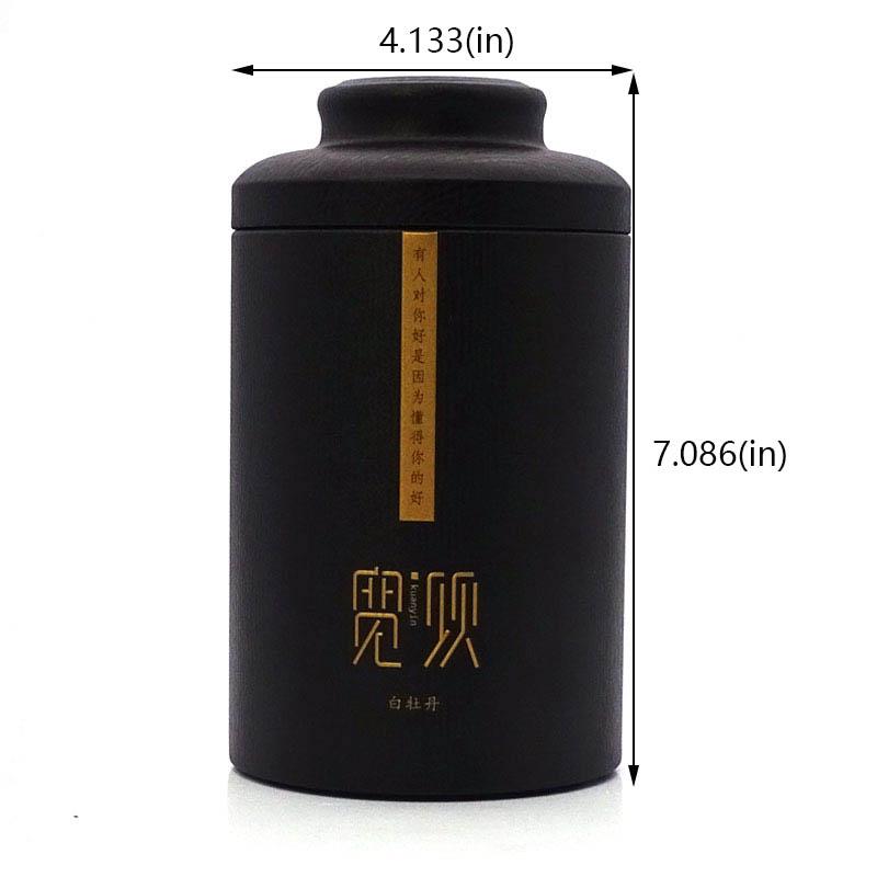 Custom cylindrical black tea tin box size