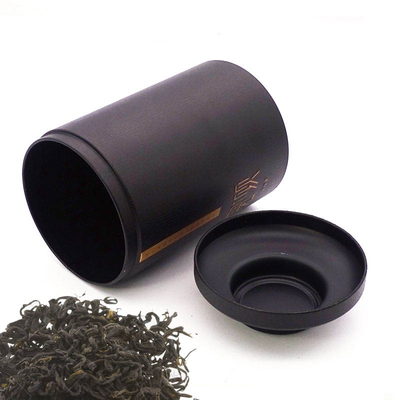 Cylindrical black tea tin box China