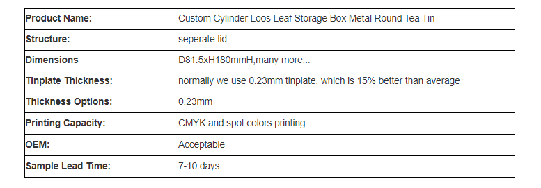 Parameters of cylindrical tea tin can