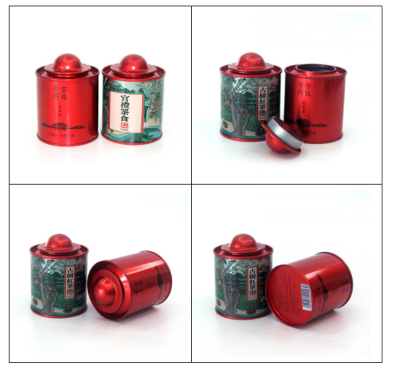 Printed round tea tin can with lid series