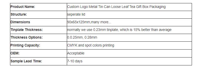 High-quality white tea tin can parameters