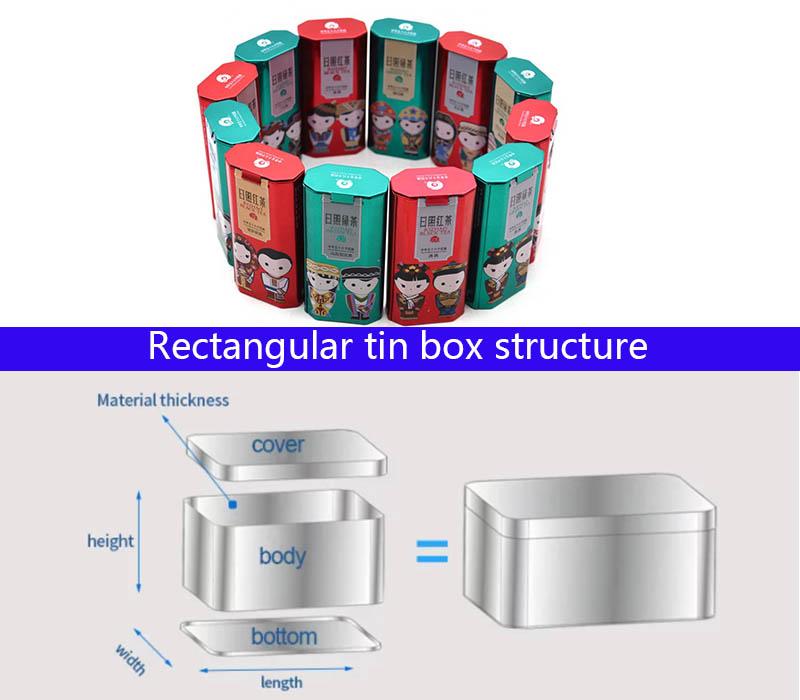 Irregular shape tea tin can structure