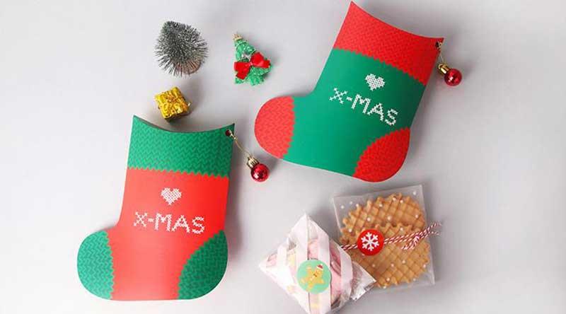 Christmas gift box in sock shape