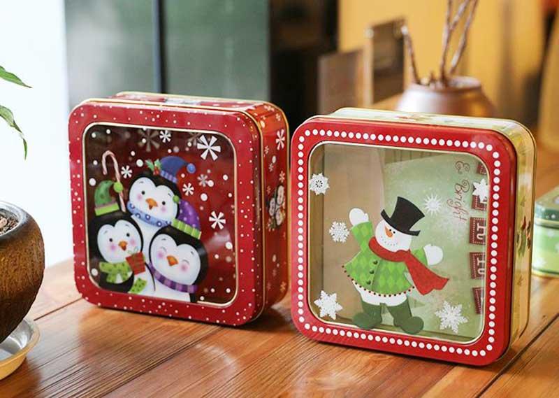 Christmas gift tin box series with PVC window