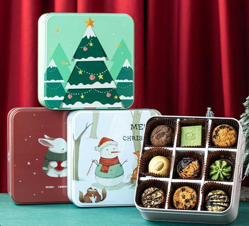 Christmas gift cookie tin box