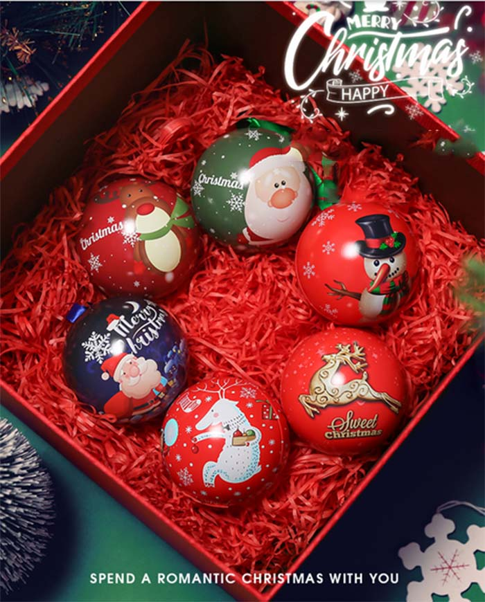 Christmas children's ball candy tin box