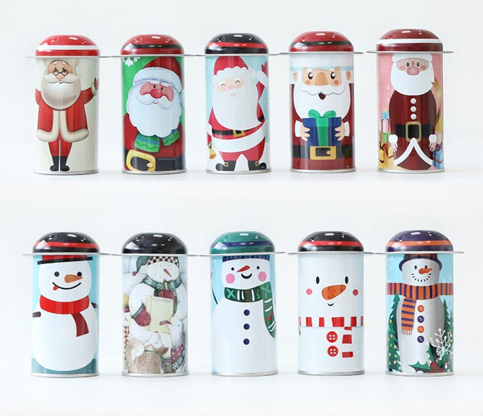 Christmas cylinder gift tin can series