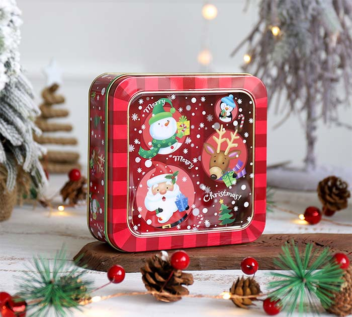 Christmas open skylight biscuit tin box