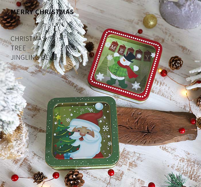 Christmas open skylight gift candy tin box