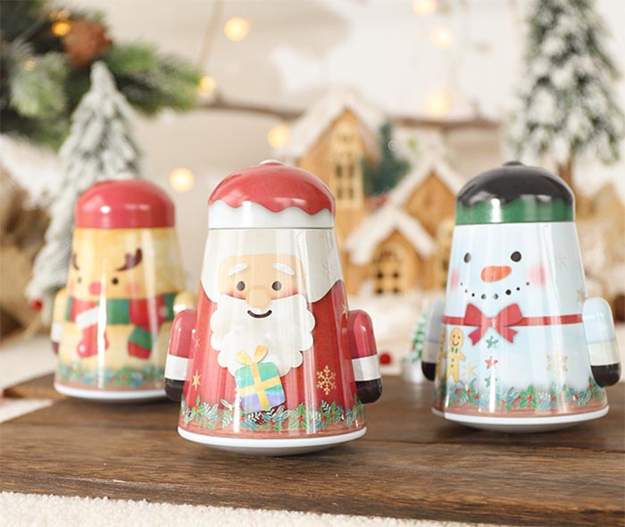 New tumbler Christmas snowman storage tin box