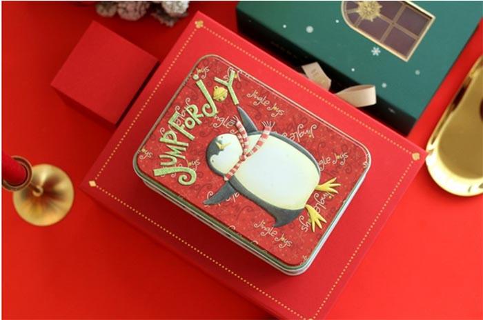 Rectangular Christmas Penguin Candy Tin Box