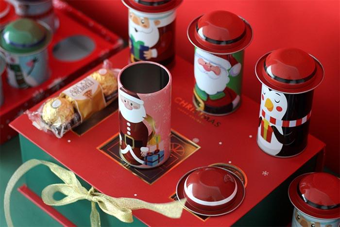 Santa Claus hat candy tin can