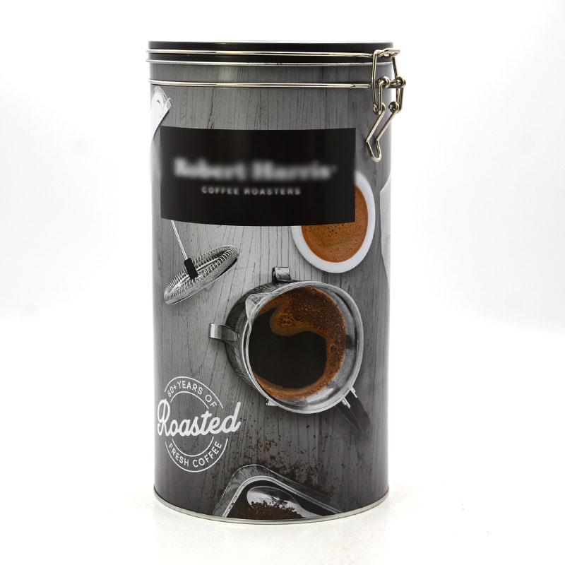 Round coffee tin box
