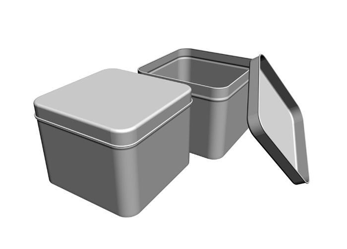 Silver tin box with window