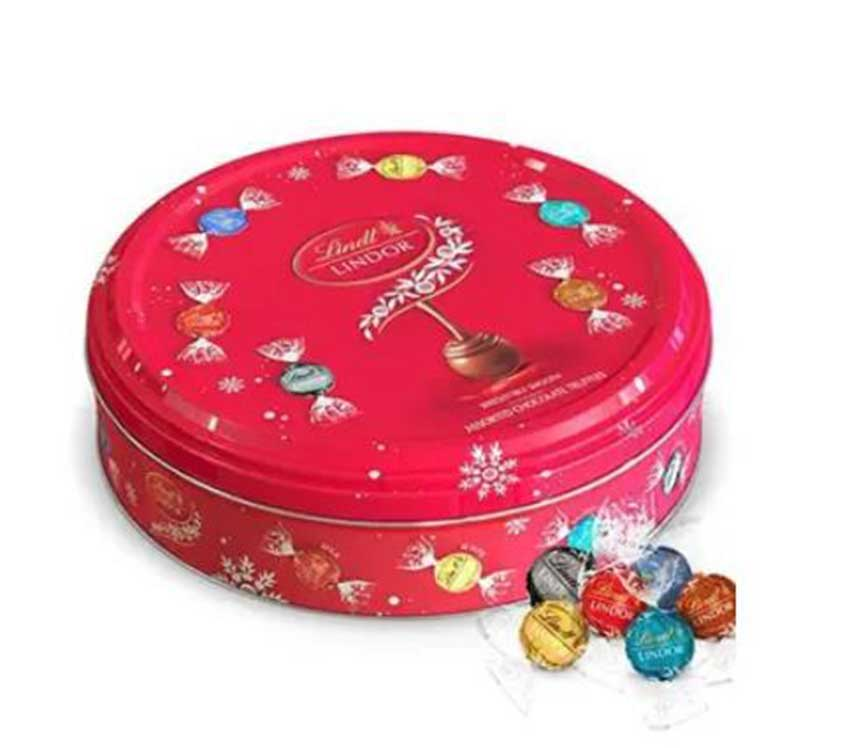Round Lindt Chocolate Tin Can